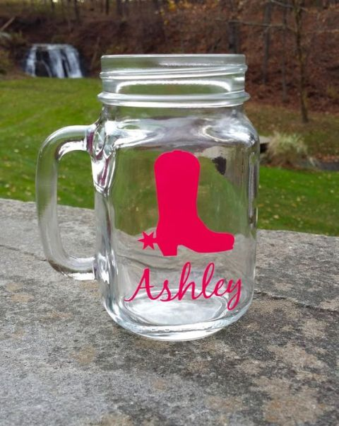 personalized jar mugs with cowgirl boots and names are amazing for accenting such a themed bridal shower
