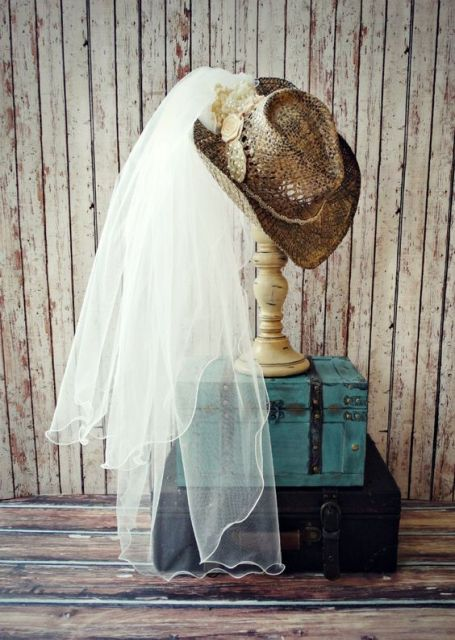 a decoration of two vintage suitcases, a stand with a cowgirl hat and a veil is a fun idea