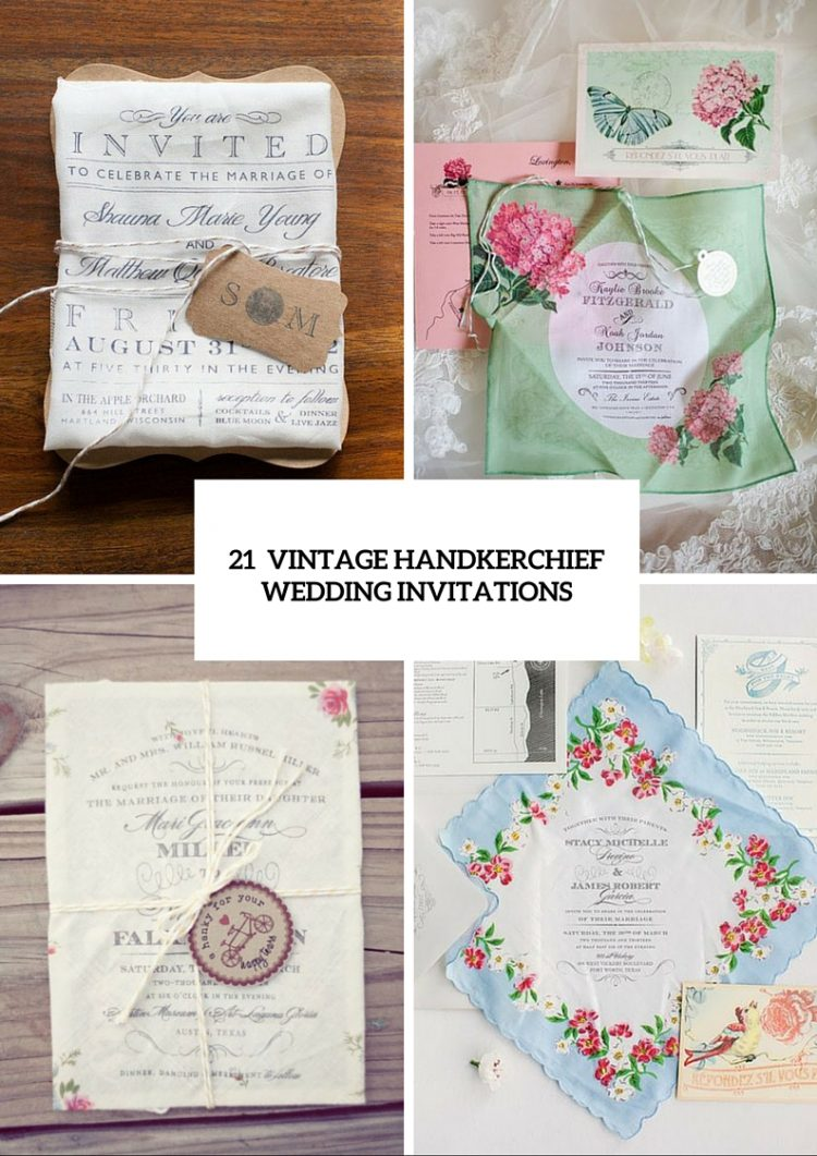 21 Charming Handkerchief Wedding Invitations For Vintage Weddings ...