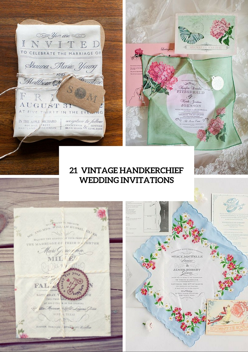 21 Charming Handkerchief Wedding Invitations For Vintage Weddings