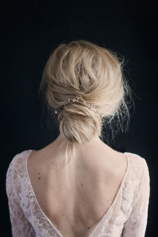 26 Chic Messy Chignon Wedding Hairstyles
