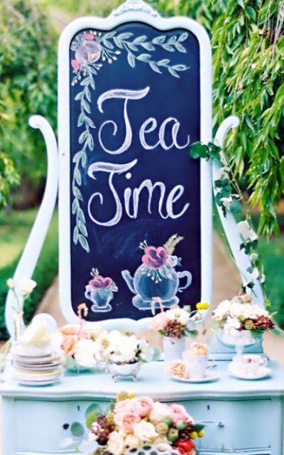 Alice in Wonderland bridal shower food bar