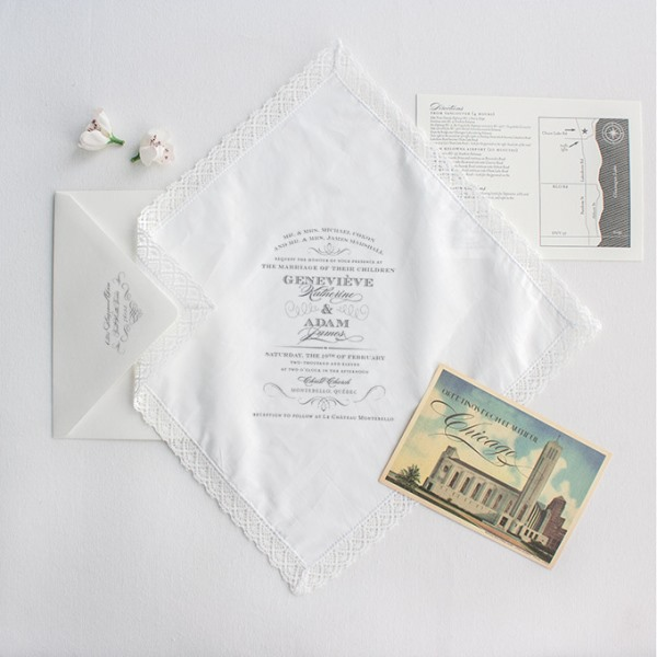 All-White Handkerchief Wedding Stationery