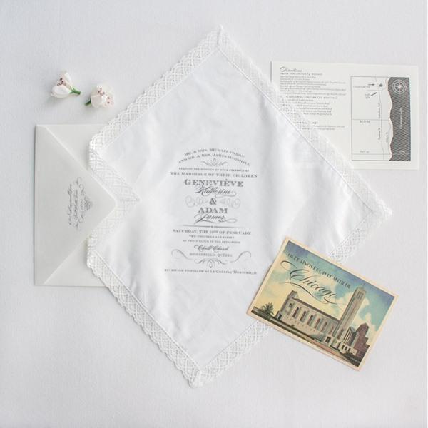All-White Handkerchief Wedding Stationery