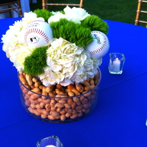 Baseball bridal shower centepiece