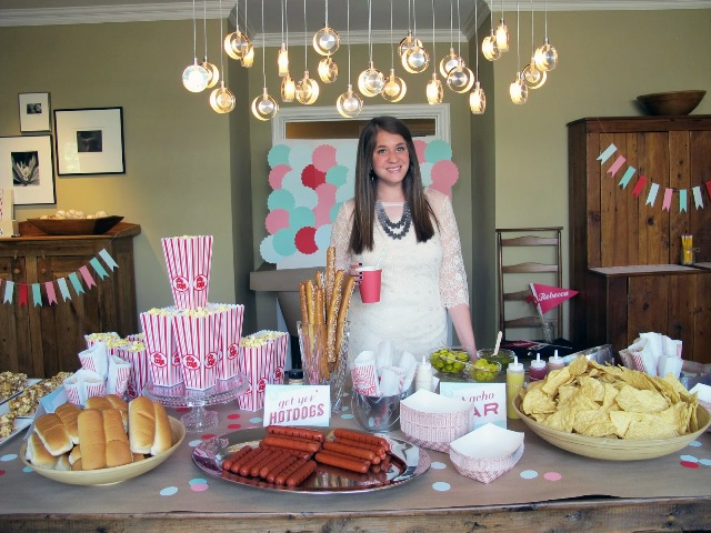 Baseball bridal shower food bar