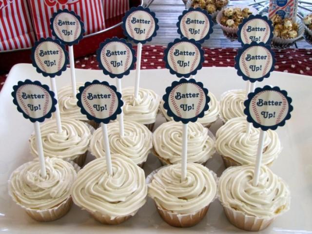 baseball themed bridal shower cupcakes