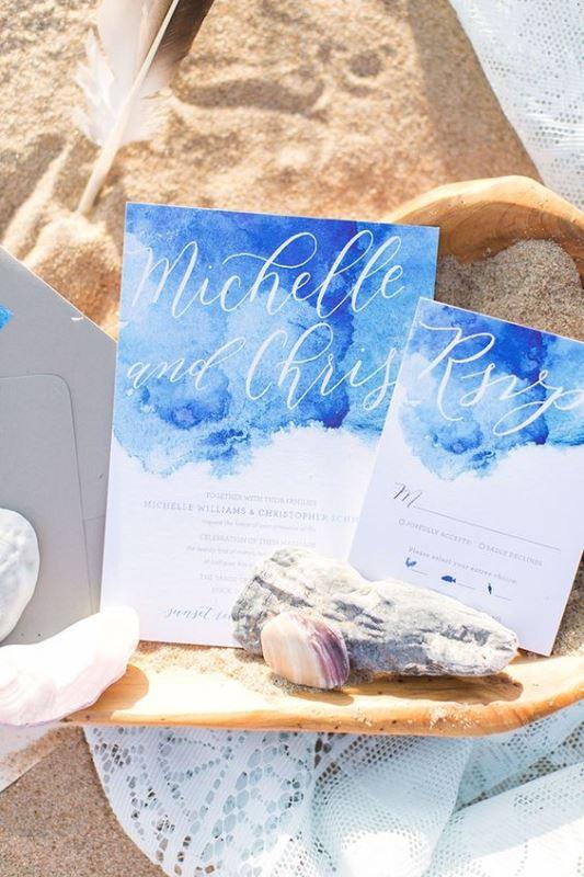 Beach Blue Watercolor Wedding Invitation