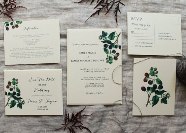 Blackberry wedding invitations