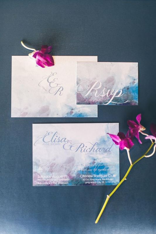 Blue Lavender Watercolor Invitation