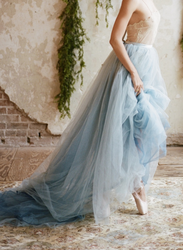 Blue Ruffled Skirt With A Lace Bodice