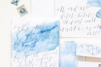 Blue Watercolor Calligraphy Wedding Invitations