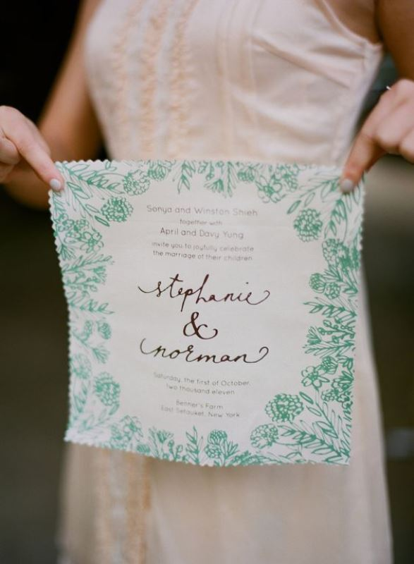 Botanical Print Handkerchief Invitation