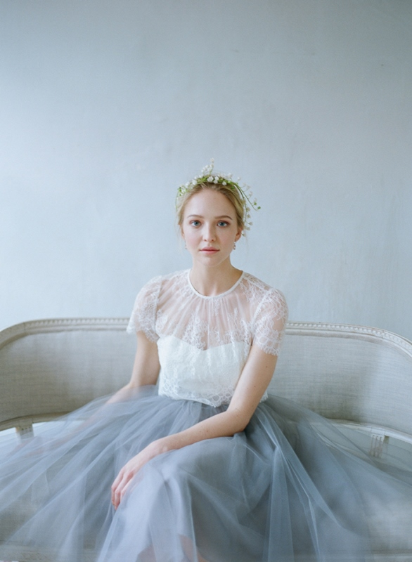 Bridal Separates With A Grey Blue Skirt From Alexandra Grecco