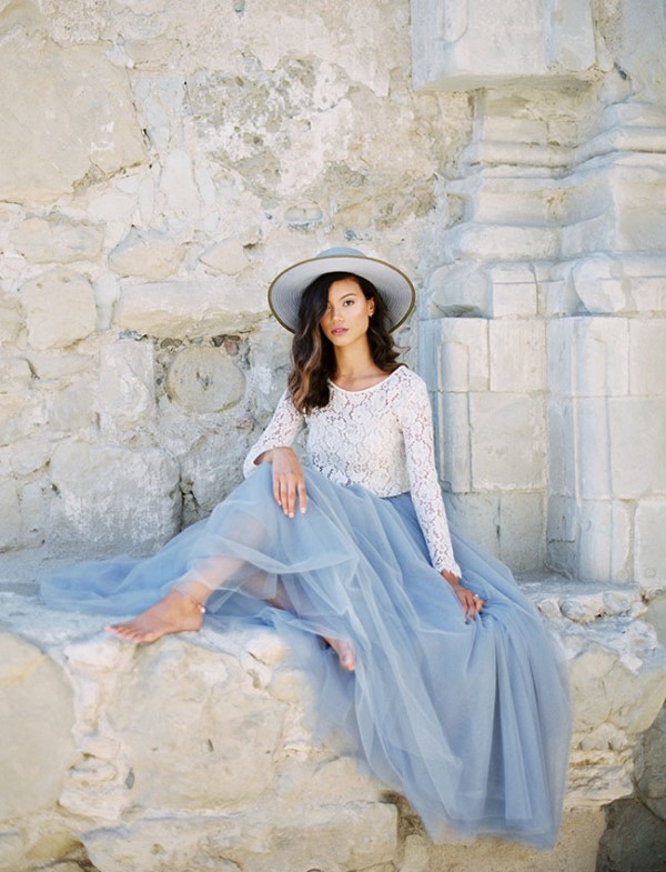 Bridal Separates With A Serenity Blue Skirt From Space46 Boutique