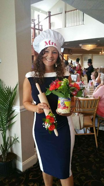 bride outfit for cooking themed bridal shower