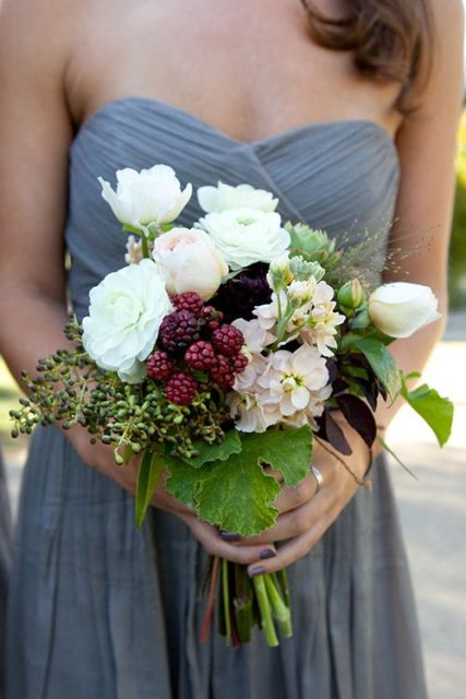 Bridesmaid bouquet with unripe blackberries