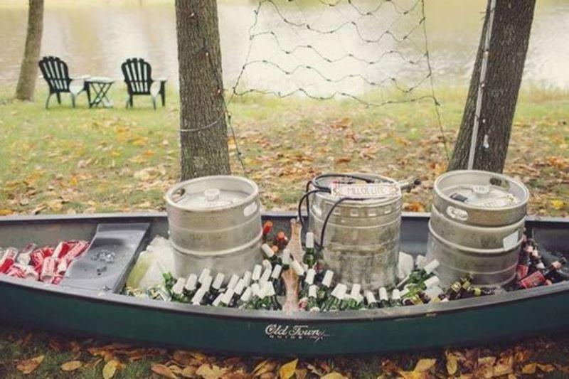 Rustic Wedding Decor 62 Good Canoe Wedding Drinks Bar
