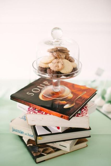 centerpiece for cooking themed bridal showers centerpiece with cookbooks and sweets