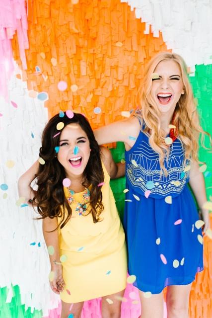 Colorful DIY Shag Wedding Backdrop
