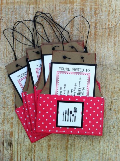 creative invitations for cooking themed bridal showers