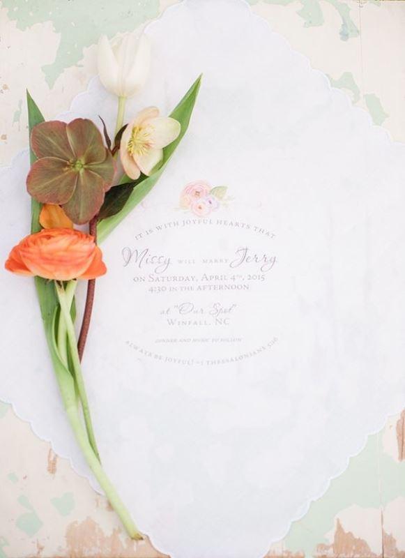 Dreamy Floral Handkerchief Invitations