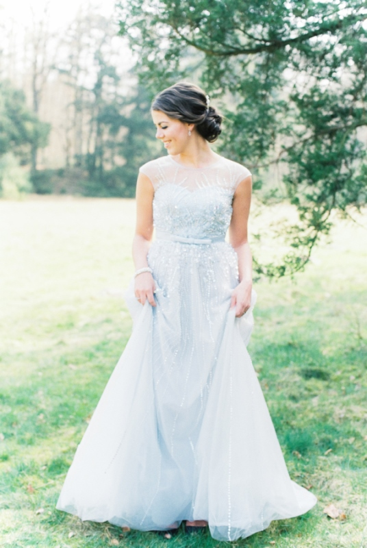 Embellished Serenity Blue Wedding Dress By Unielle Couture