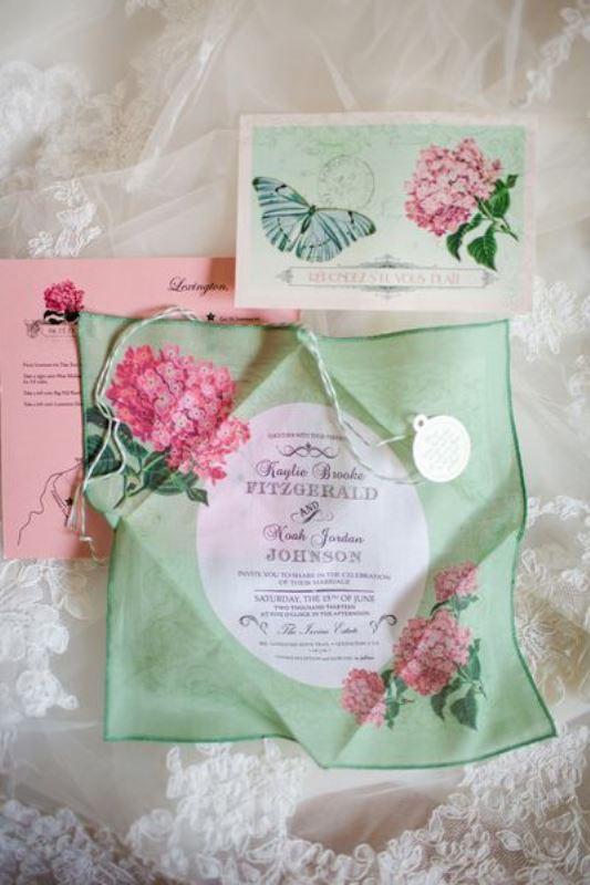 21 charming handkerchief wedding invitations for vintage weddings