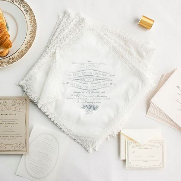French-Inspired Handkerchief Wedding Invitations