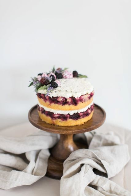 Fruit wedding cake with blackberries