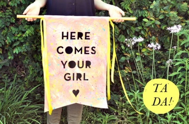 Picture Of Funny DIY Here Comes The Bride Banner 3
