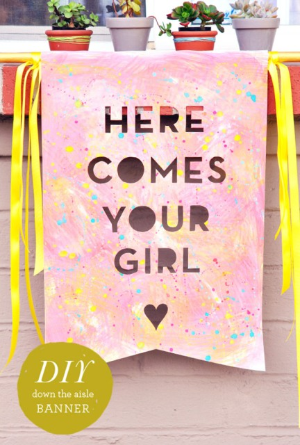 Funny DIY Here Comes The Bride Banner