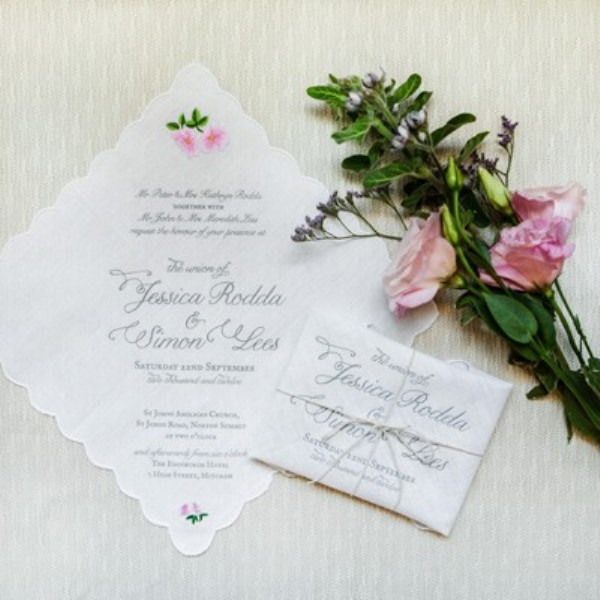 Garden Inspired Handkerchief Wedding Invitation