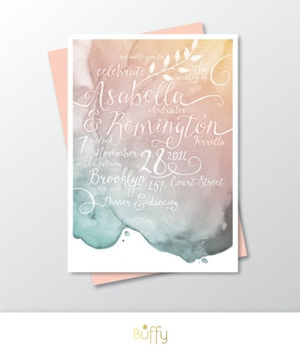 Gold Pink And Teal Blush Watercolor Wedding Invitation