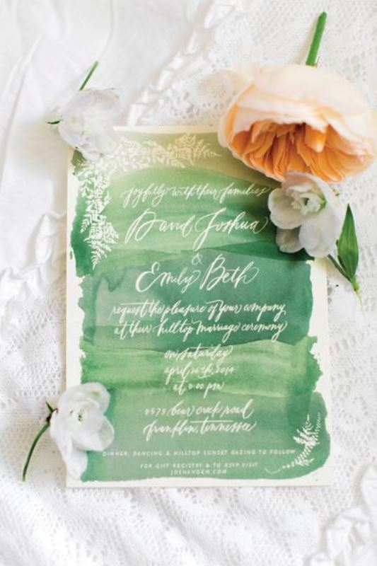 23 pretty watercolor wedding invitations to get inspired green watercolor wedding invitation junglespirit Image collections