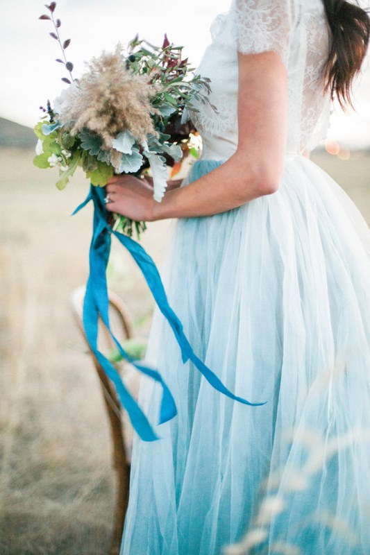 Hand painted Serenity Blue Wedding Dress By Chantel Galloway