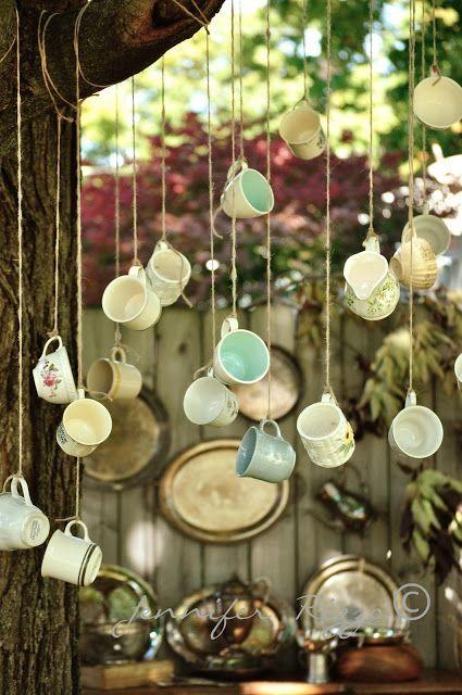 Hanging decor idea for Alice in Wonderland bridal shower. 22 Fairy Alice In Wonderland Themed Bridal Shower Ideas