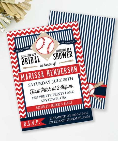 Invitation for baseball bridal shower