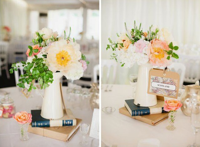 Modern And Vintage Wedding Decorations With Jugs