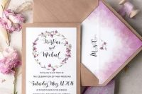 Lilac Ombre Watercolor Wedding Invitation