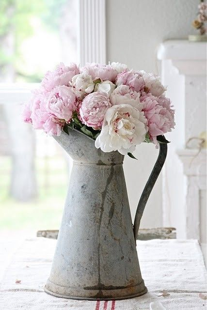 Metallic jug with peonies