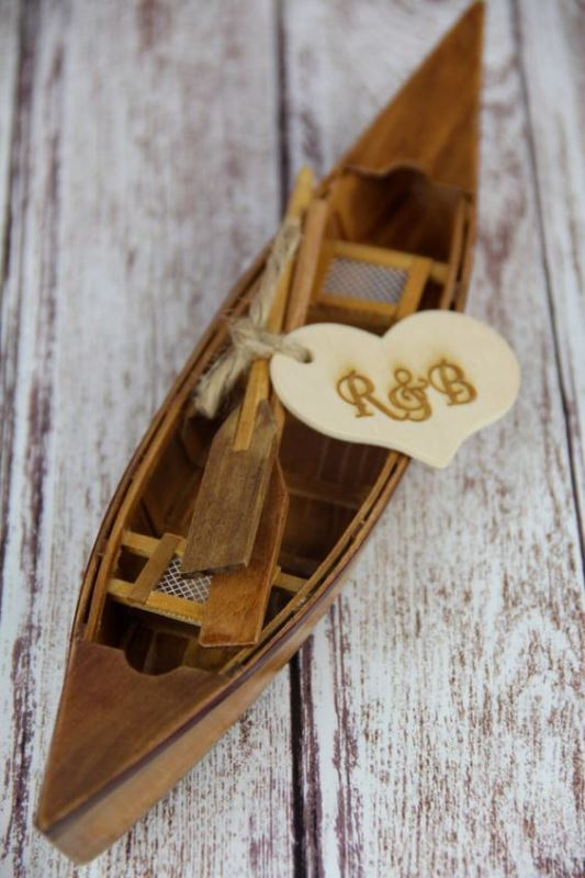 Mini Rustic Canoe Cake Topper