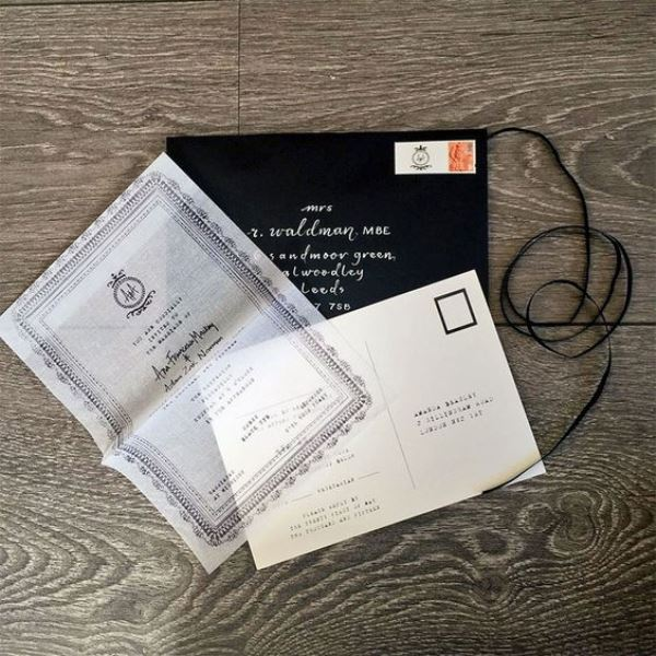 Monochrome Handkerchief Invitation Suite