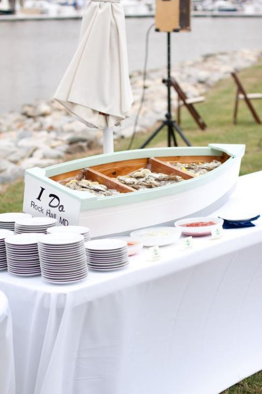 Nautical Themed Canoe Food Bar