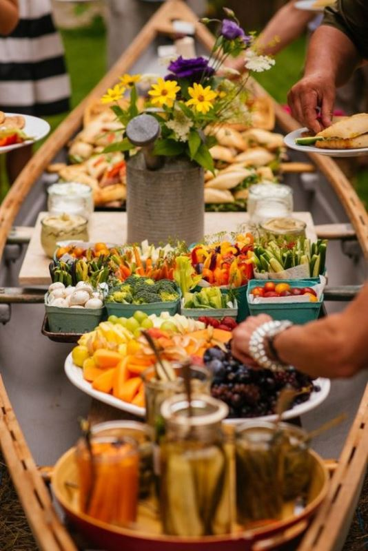 Outdoor Canoe Wedding Buffet
