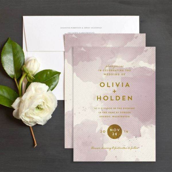 Painterly Chic Watercolor Wedding Invitation