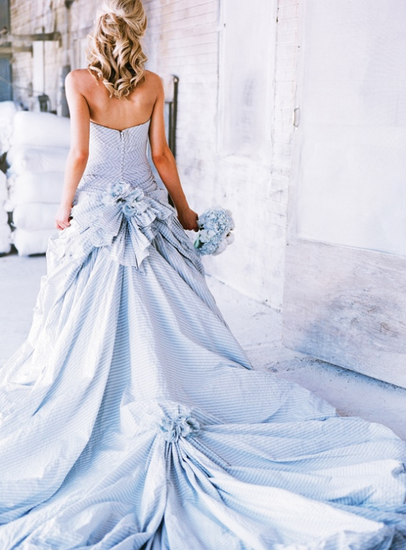 Pale Blue Stripe Wedding Gown By Ian Stuart