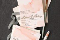 Peachy Pink Handpainted Watercolor Wedding Invitation