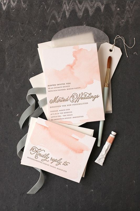 Peachy Pink Handpainted Watercolor Wedding Invitation