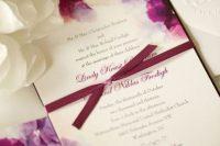 Plum Hued Flower Watercolor Wedding Invitation